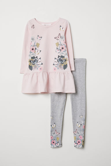 Dress and leggings - Light pink/Butterflies - Kids | H&M