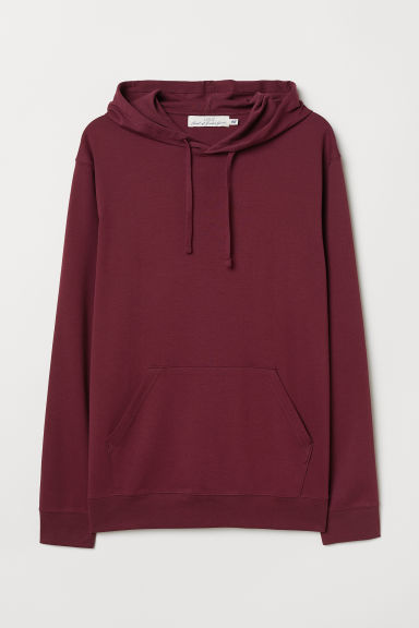 Cotton jersey hooded top - Burgundy - Men | H&M
