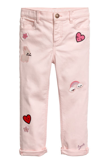Twill trousers with appliqués - Light pink/Heart - Kids | H&M CN