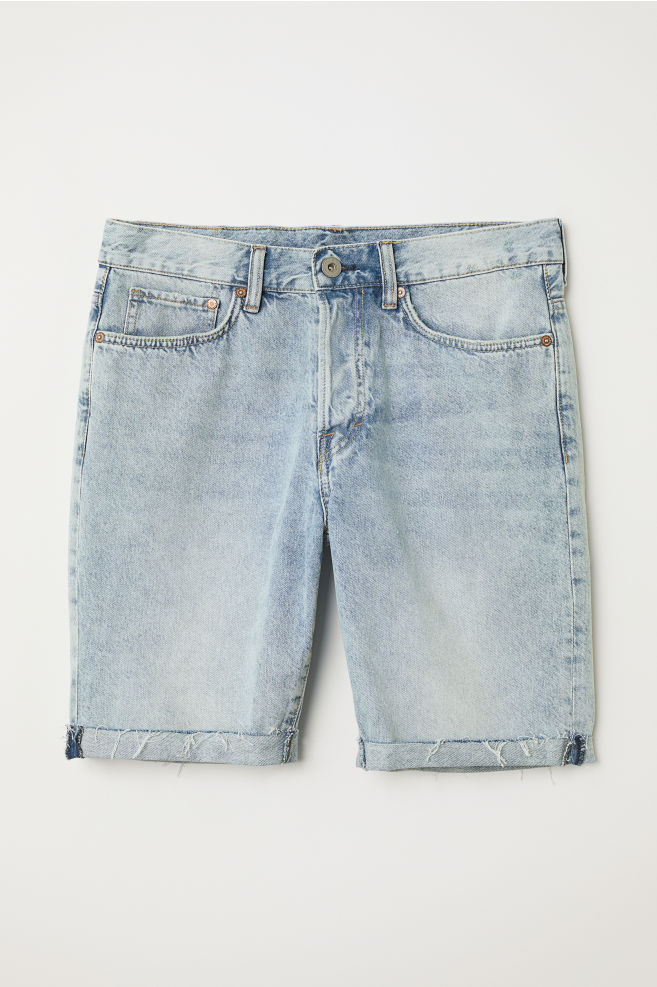 Hm Heren Korte Broek.Straight Denim Short Licht Denimblauw Heren H M Be