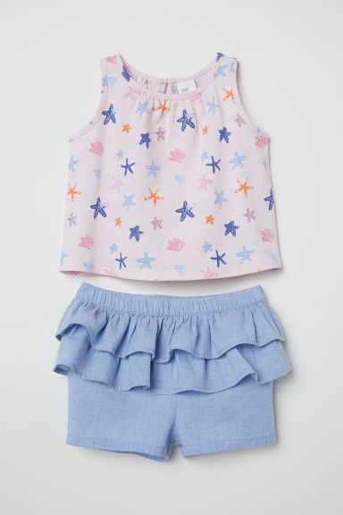 Top and frilled shorts - Powder pink/Starfish - Kids | H&M