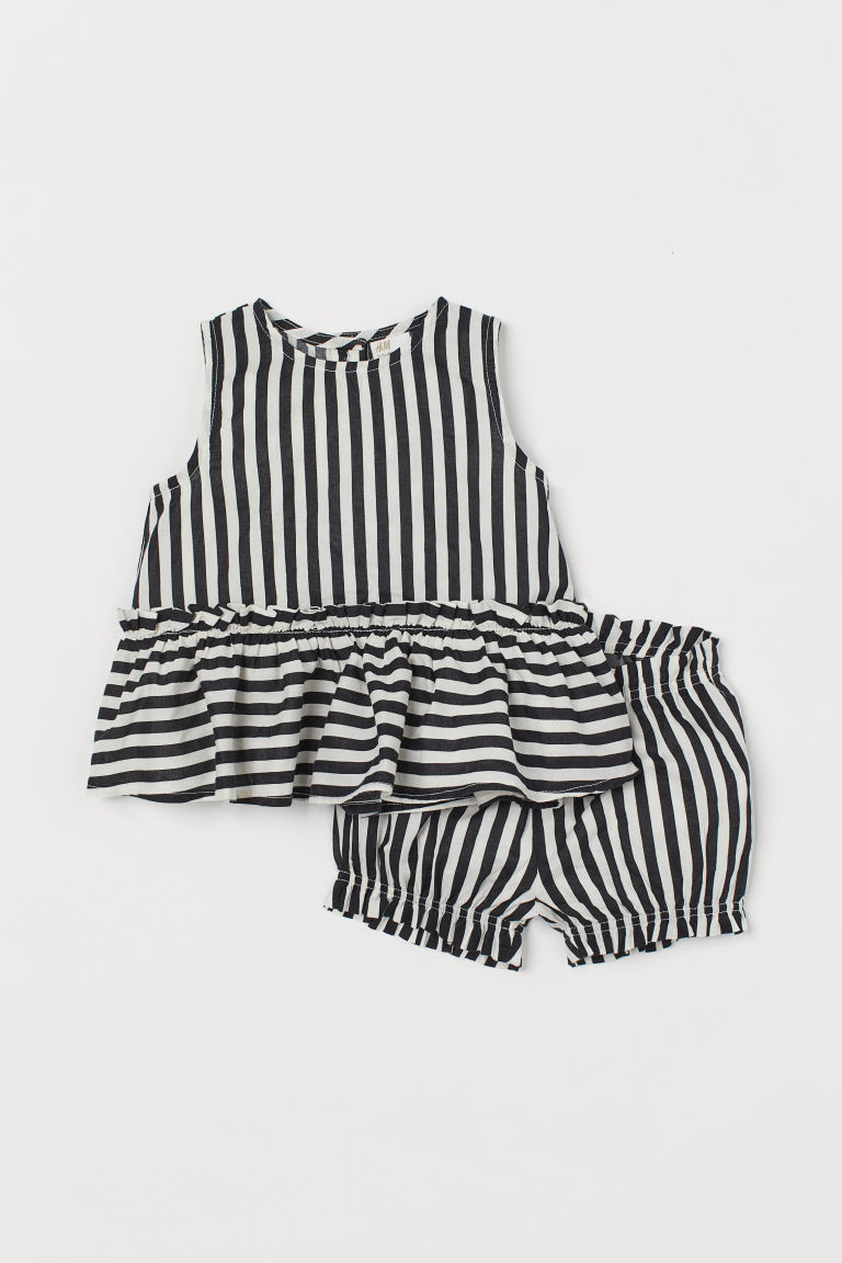 Peplum Top and Puff Pants - Black/white striped - Kids | H&M US