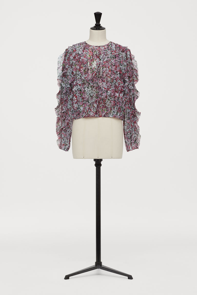 Airy flounced blouse - Pink/Floral - Ladies | H&M
