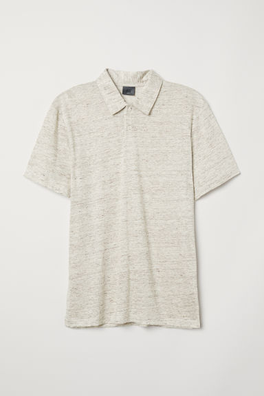 Linen-blend polo shirt - Beige - Men | H&M CN