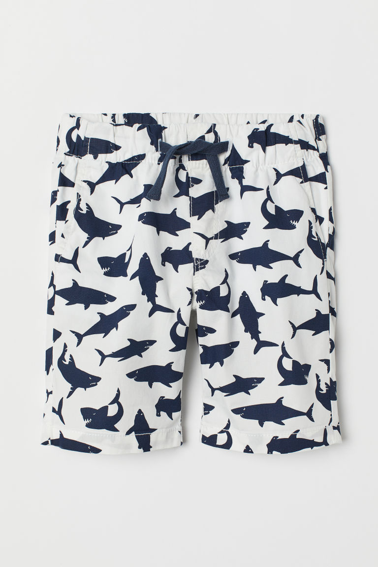 Cotton shorts - White/Sharks - Kids | H&M