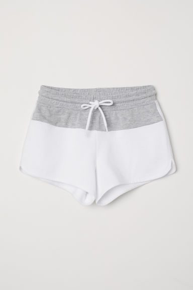 Shorts with side stripes - White/Grey marl - Kids | H&M CN