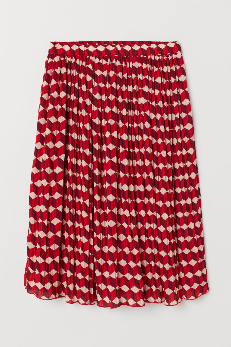 Pleated skirt - Red/Patterned - Ladies | H&M CN