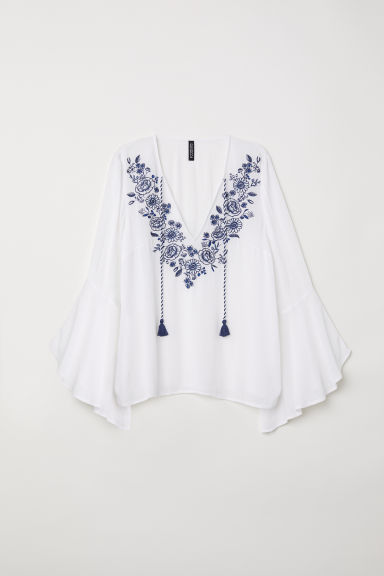 Blouse with embroidery - Natural white - Ladies | H&M