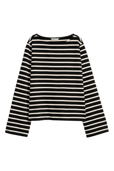 Jersey top - Black/Striped - Ladies | H&M CN