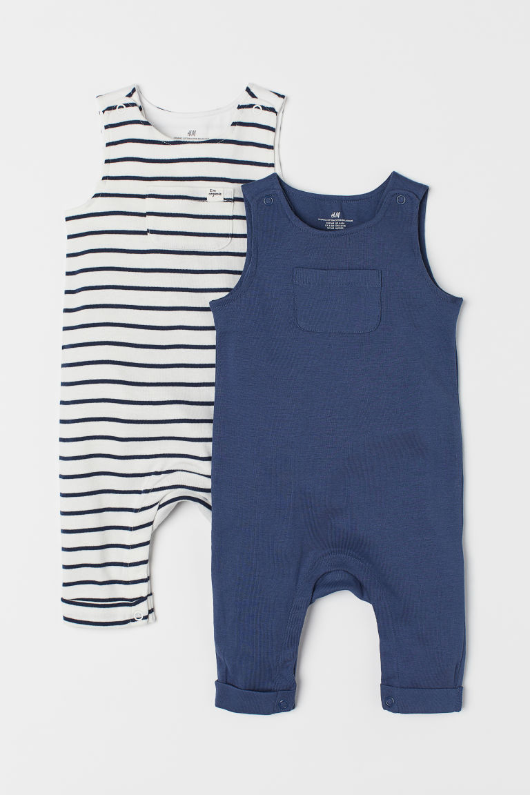 2-pack jersey romper suits - Dark blue - Kids | H&M CN