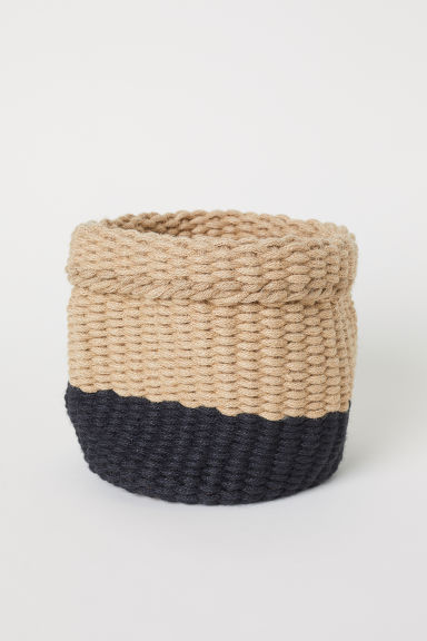 Handmade jute basket - Beige/Anthracite grey - Home All | H&M CN