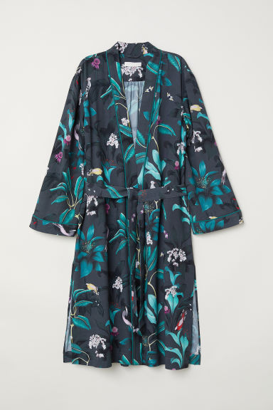 Patterned kimono - Dark grey/Floral - Ladies | H&M
