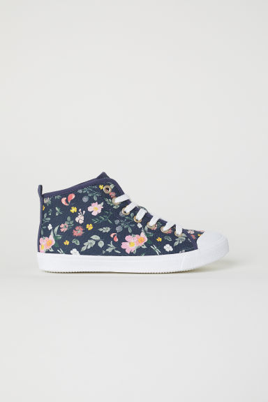 Hi-top trainers - Dark blue/Floral - Kids | H&M CN
