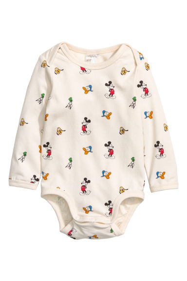 Long-sleeved bodysuit - Natural white/Mickey Mouse -  | H&M GB