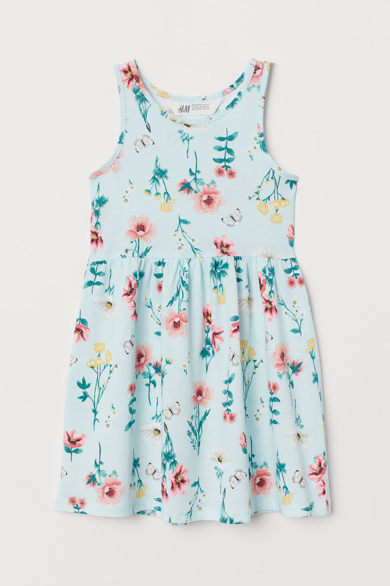 Patterned Jersey Dress - Mint green/floral - Kids | H&M CA