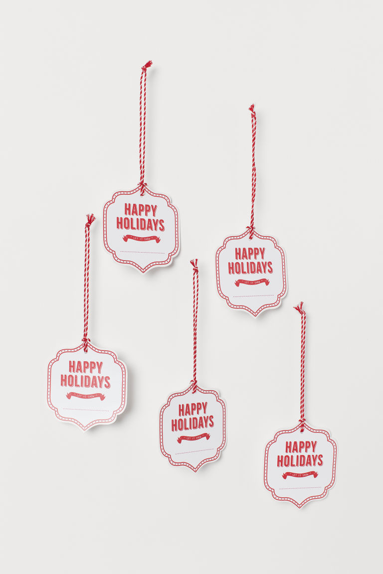 Set van 5 cadeaulabels - Wit/Happy Holidays - HOME | H&M NL