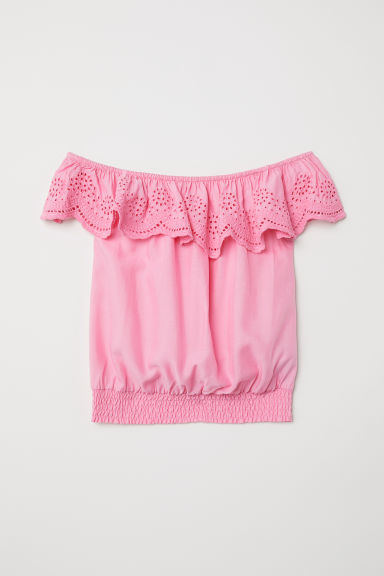 Blouse with broderie anglaise - Pink - Kids | H&M GB