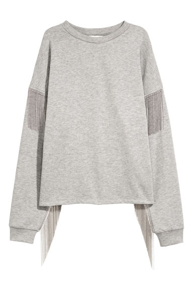 Sweatshirt with ball chains - Light grey - Ladies | H&M CN
