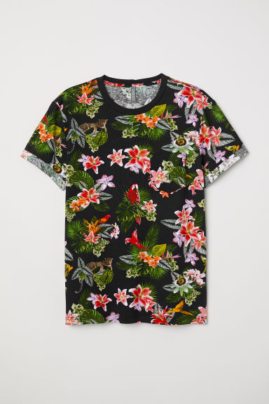 T-shirt con taschino - Nero/leopardi - UOMO | H&M IT