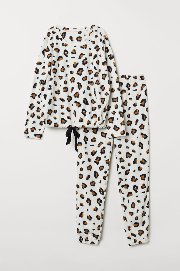 Fleece pyjamas - White/Leopard print - Ladies | H&M