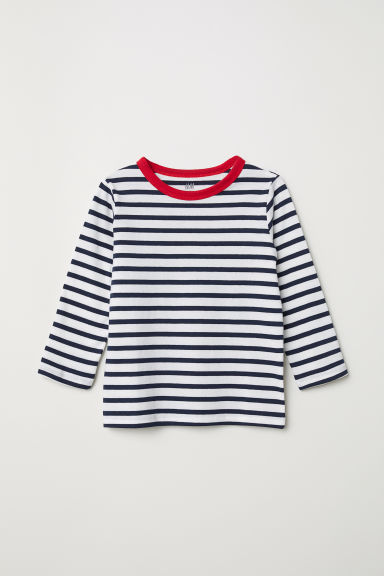 Striped jersey top - Dark blue/Striped - Kids | H&M CN