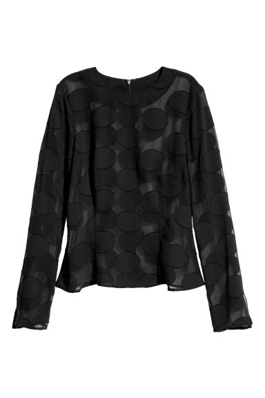 Long-sleeved top - Black/Jacquard - Ladies | H&M