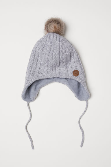 Cable-knit hat - Light grey - Kids | H&M