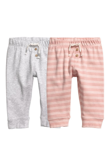 Leggings, lot de 2 - Rose poudré/rayé - ENFANT | H&M FR