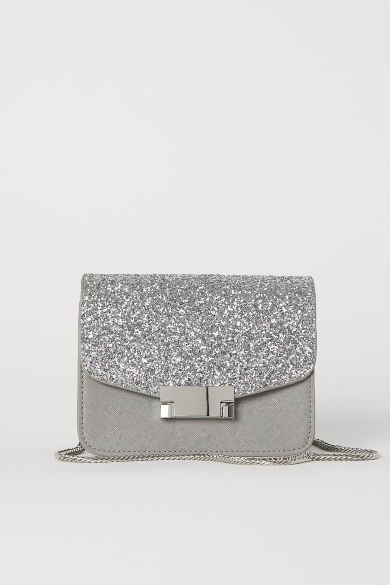 Glittery shoulder bag - Grey - Ladies | H&M