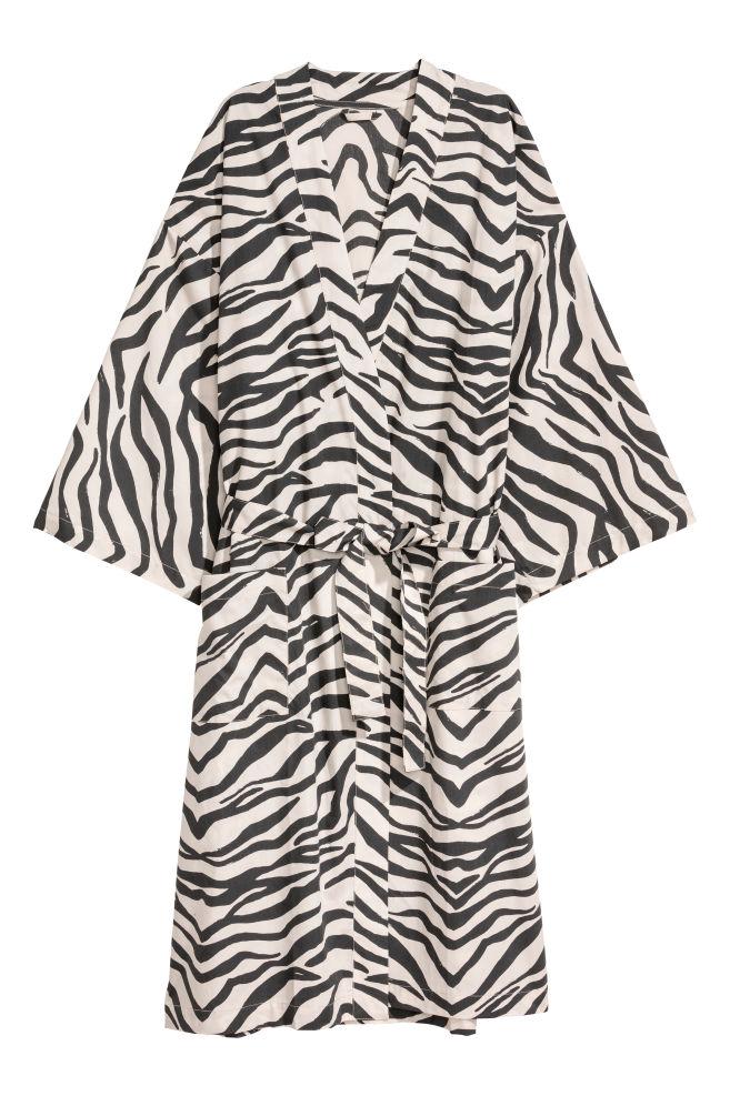 Cotton Bathrobe - Light beige zebra-patterned - Home All  3b5d8eefd