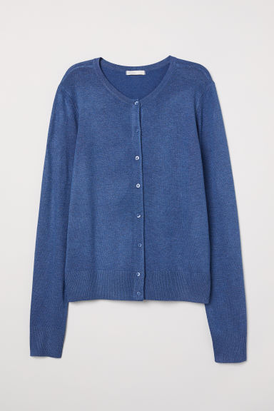 Fine-knit cardigan - Blue marl - Ladies | H&M CN
