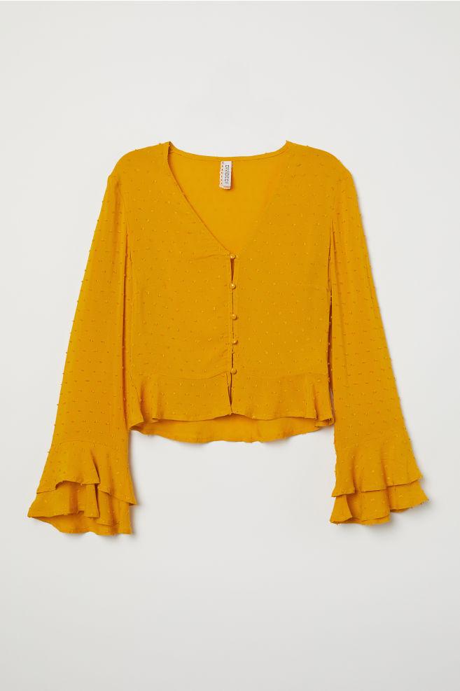 69b63677bb999 V-neck Viscose Blouse - Mustard yellow - Ladies