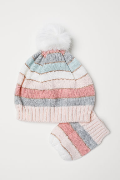Hat and mittens - Light pink/Striped - Kids | H&M CN