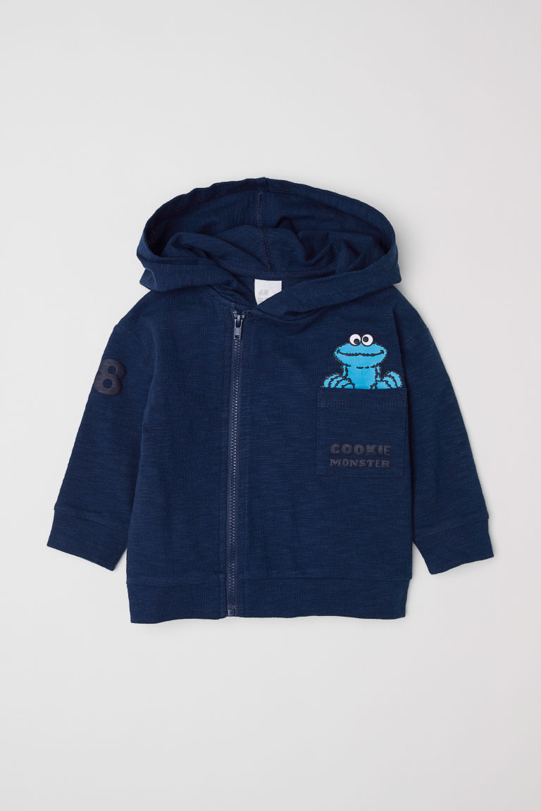 Slub jersey hooded jacket - Dark blue/Sesame Street - Kids | H&M