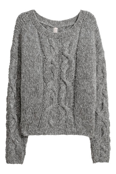Cable-knit jumper - Dark grey -  | H&M GB