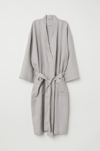 Washed Linen Bathrobe - Light taupe -  | H&M US
