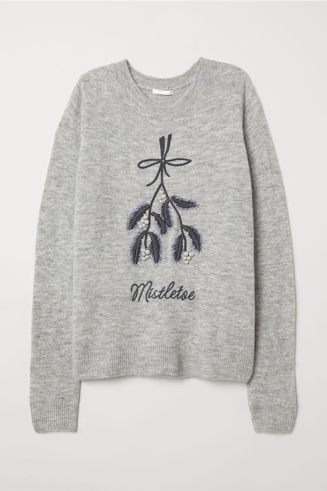 251a4a55daa0e Knitted jumper with a motif - Grey marl/Mistletoe - Ladies   H&M ...