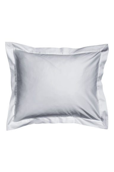 Cotton satin Oxford pillowcase - Light grey - Home All | H&M IE