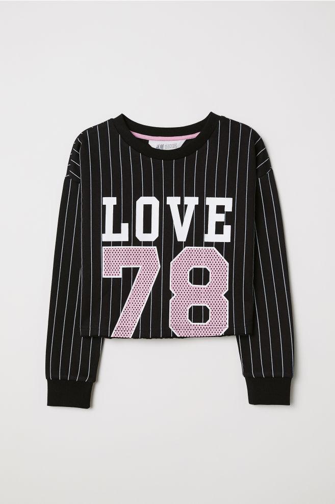 Kort sweatshirt - Svart/LOVE - BARN | H&M SE 1