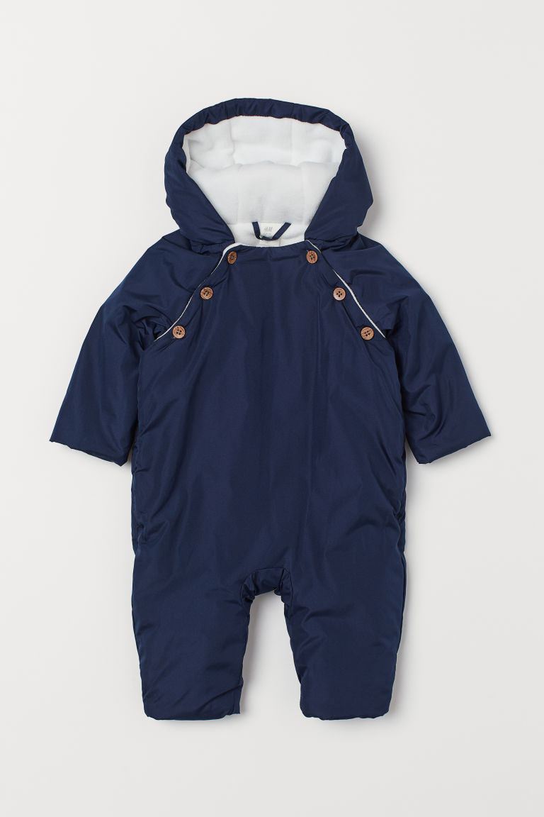 Fleece-lined all-in-one suit - Dark blue - Kids | H&M