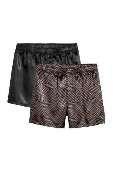 2-pack satin boxer shorts - Dark blue/Patterned -  | H&M