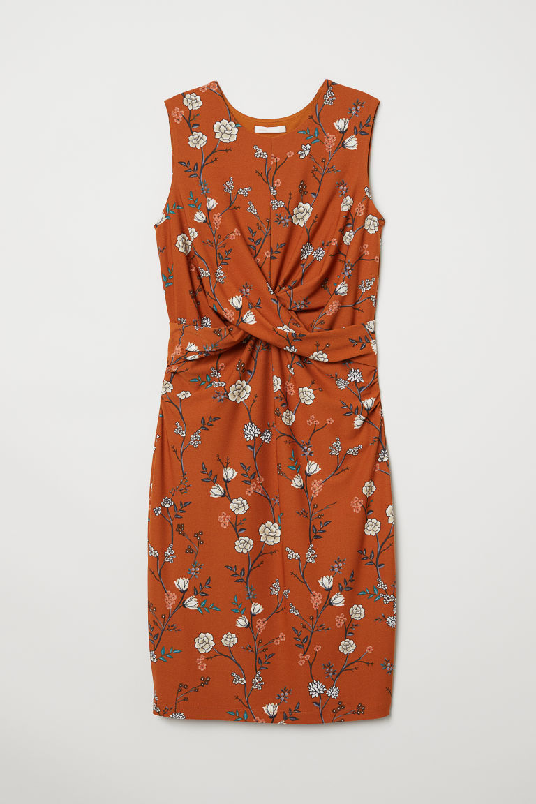 MAMA Draped dress - Brown/Floral - Ladies | H&M CN