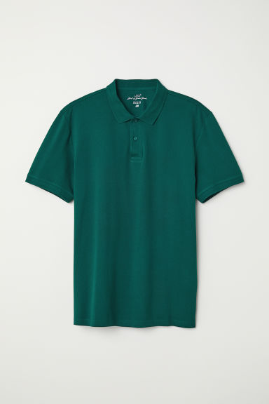 Short-sleeved polo shirt - Dark green - Men | H&M