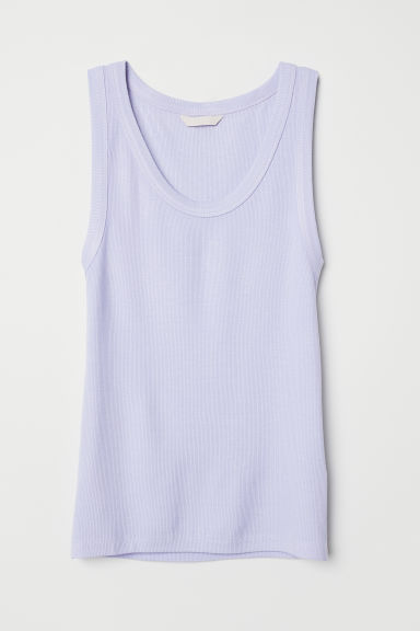 Ribbed vest top - Light purple - Ladies | H&M