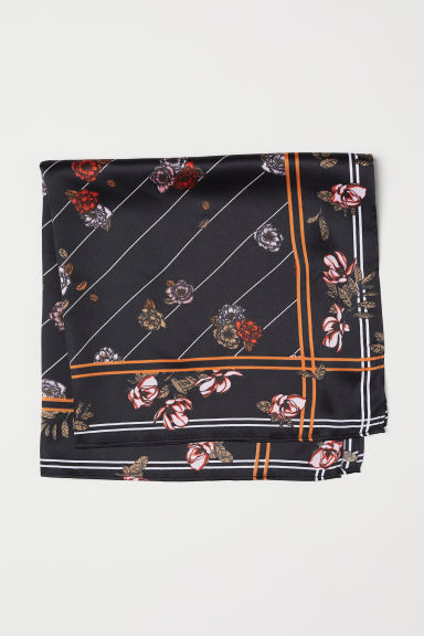 Small satin scarf - Black/Floral - Ladies | H&M CN
