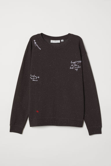 Embroidered sweatshirt - Dark grey - Ladies | H&M CN
