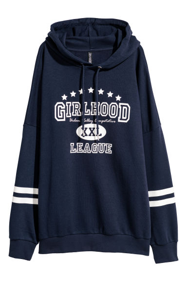 Printed hooded top - Dark blue - Ladies | H&M GB