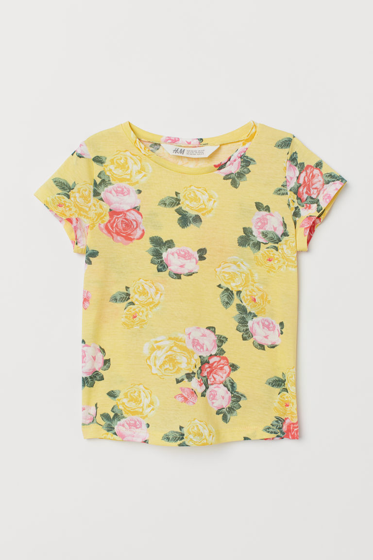 Top in jersey con stampa - Giallo/rose - BAMBINO | H&M IT