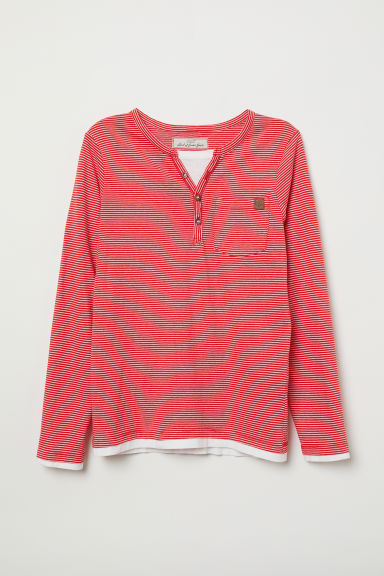 Henley top - Red/White striped -  | H&M
