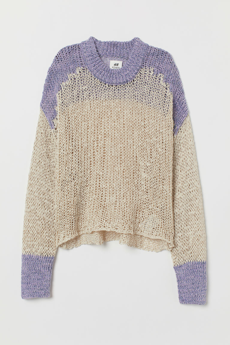 Loose-knit Sweater - Beige/purple melange - Ladies | H&M US